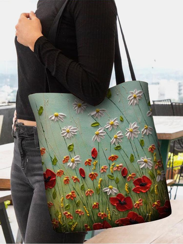 Women Calico Pattern Printing Handbag Shoulder Bag Tote