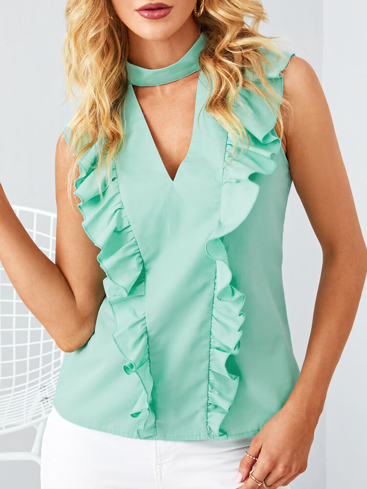 Ruffle Solid Color Sleeveless V-neck Casual Blouse For Women