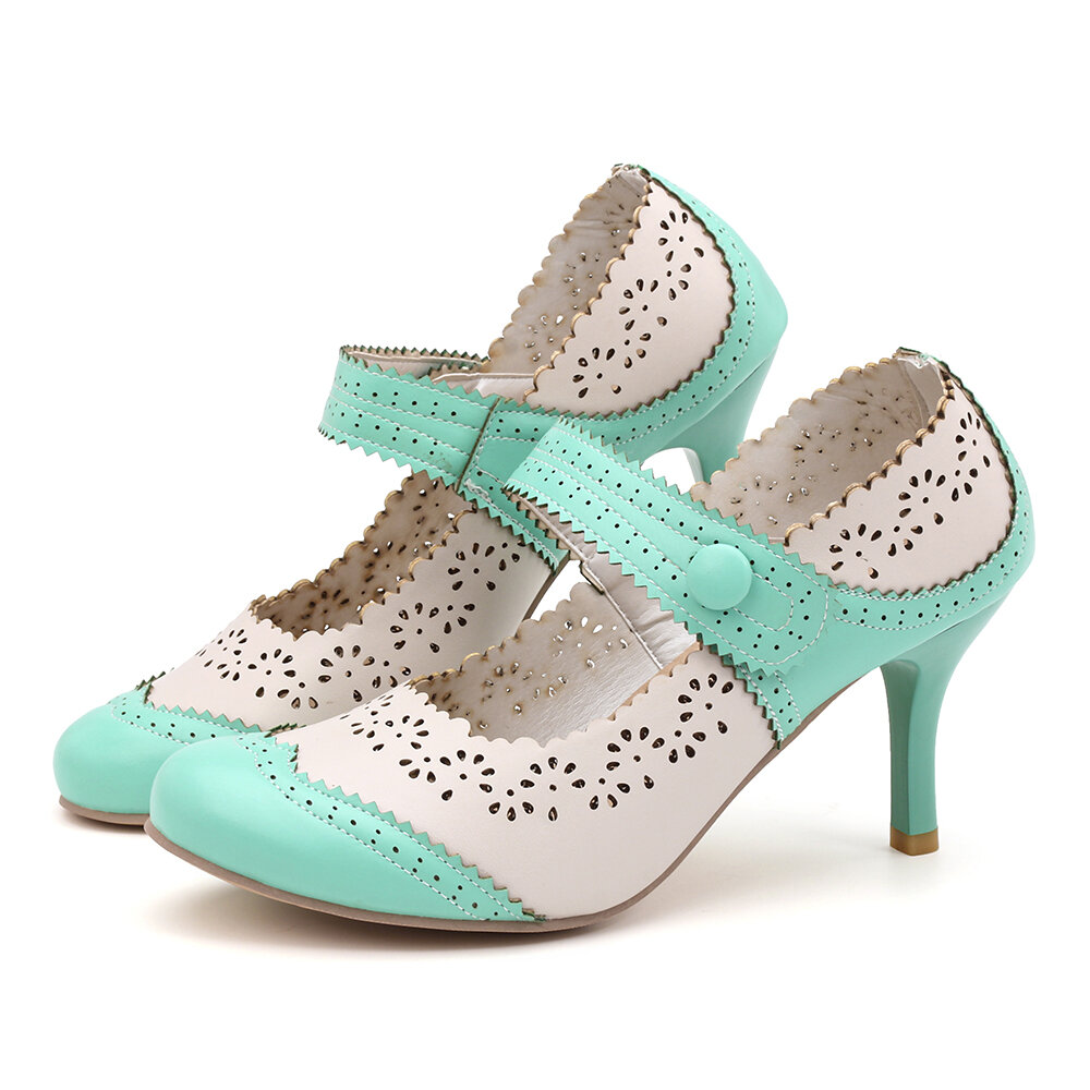 Women Flowers Pattern Hollow Out Mary Jane Pumps