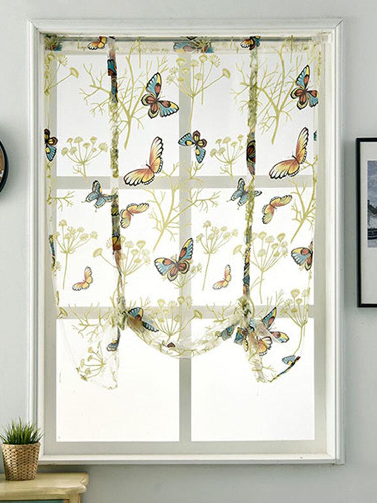 フレッシュカーテンロワーオープンパストラルスタイルカーテンローマスクリーン半透明カーテン