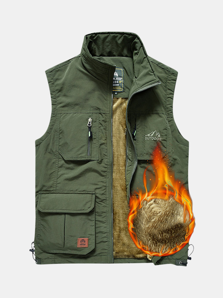 Mens Fleece Lining Thickened Warm Solid Color Sleeveless Outdoor Fashion Casual Vest