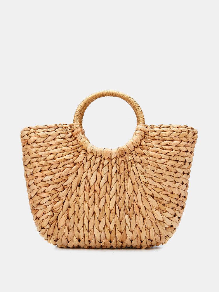 Paja Bolsa Mujer Ratán de verano Bolsa Círculo tejido a mano Bohemia Playa Bolso de mano