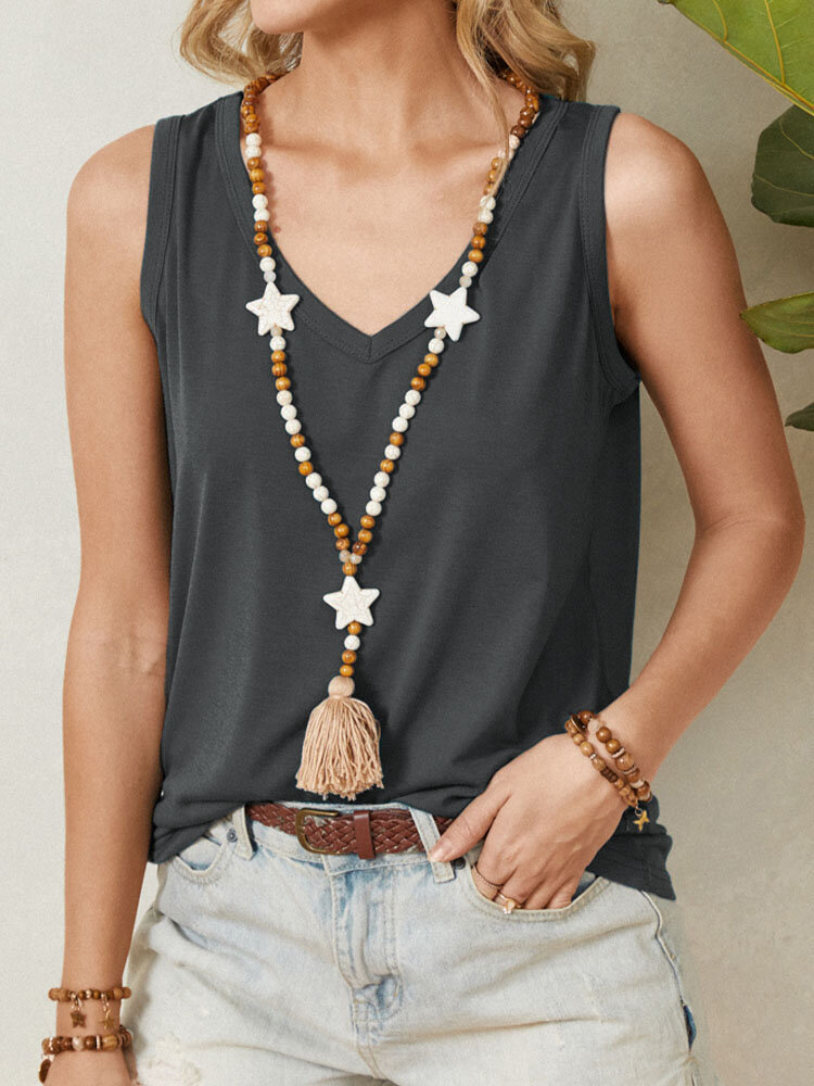 Solid Color V-neck Sleeveless Casual Tank Top For Women