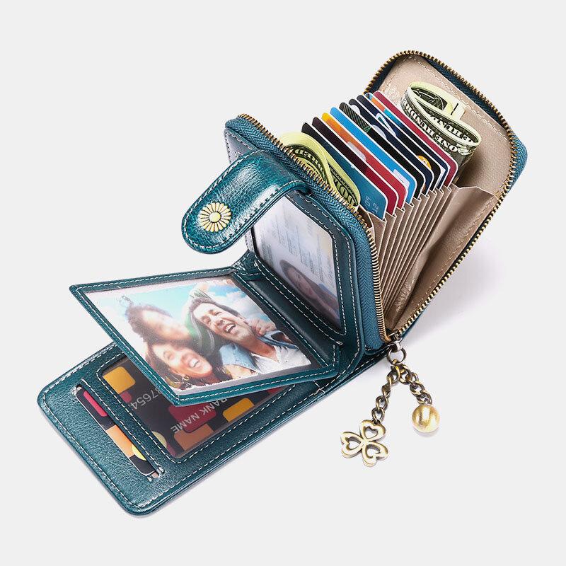 女性本革RFID盗難防止9カードスロット財布財布