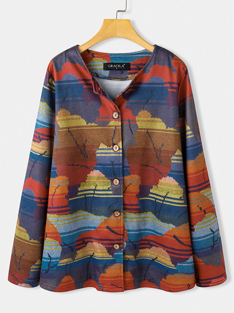 Vintage Print Long Sleeves O-neck Casual Button Coats For Women