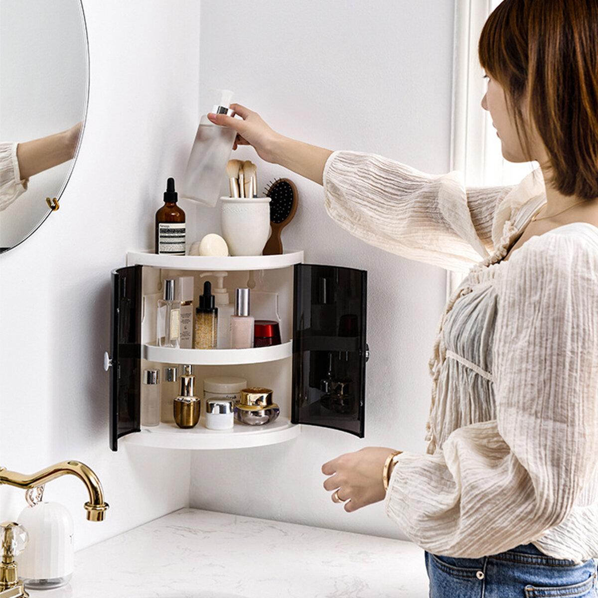 <US Instock> Multifunction 2/3 Tier Corner Storage Organizer Rack Holder Plastic Wall Mounted Shelving Kitchen Bathroom