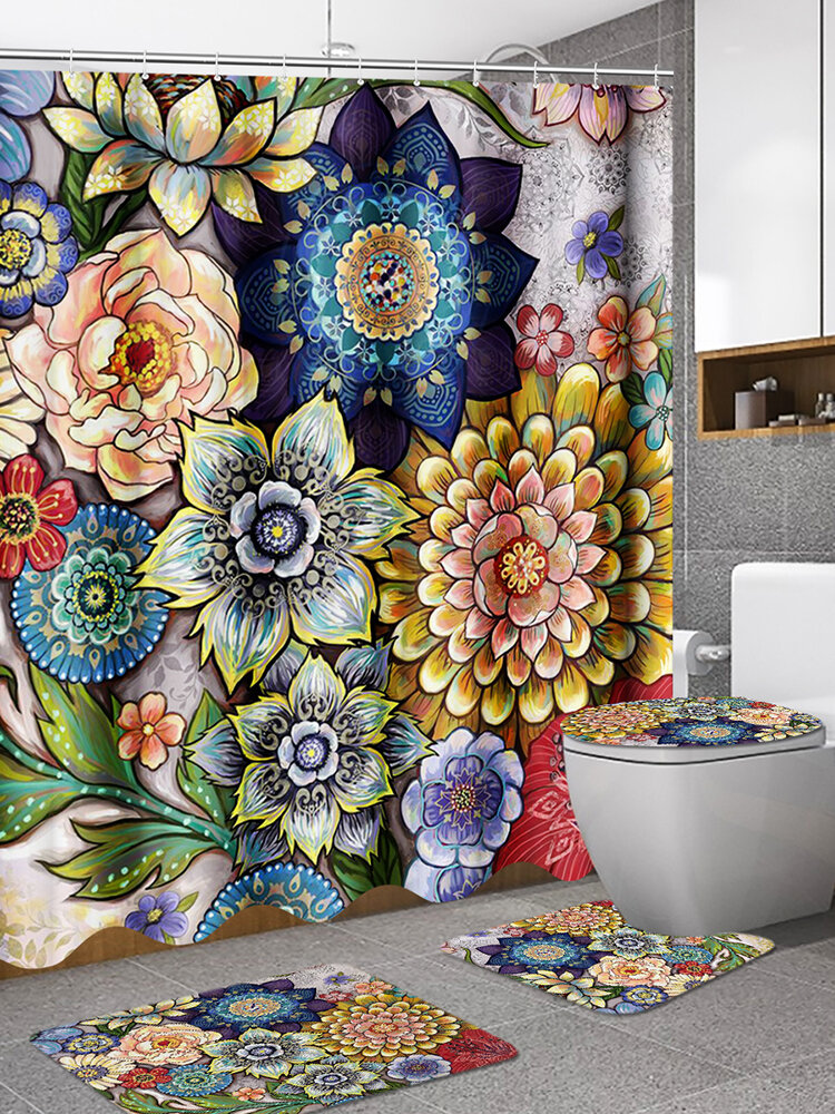 180x180cm Shower Curtains For Bathroom Bright Fabric Blossom Shower Curtain With 12 Hooks