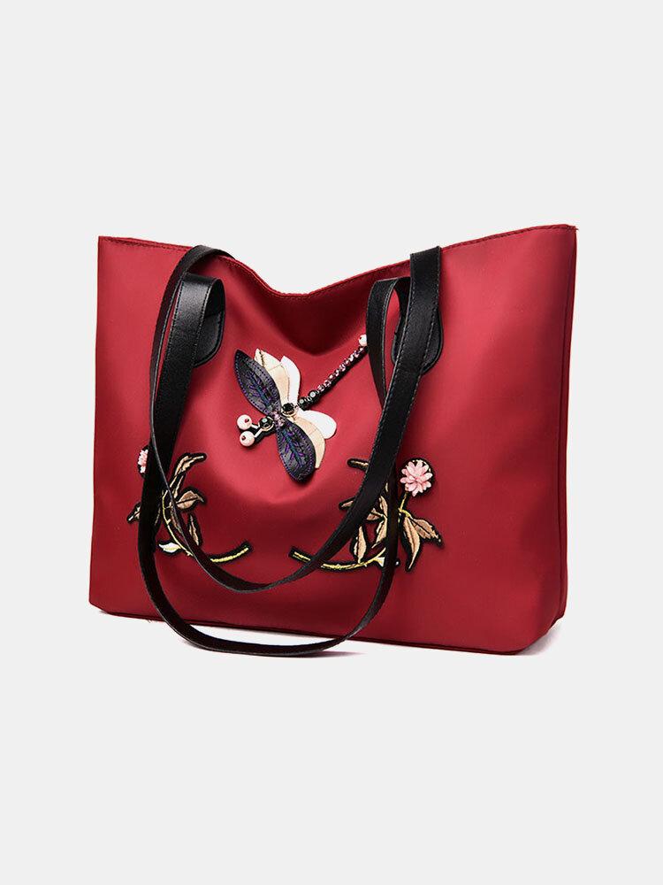 Women Waterproof Dragonfly Embroidered Large Capacity Handbag Shoulder Bag Tote