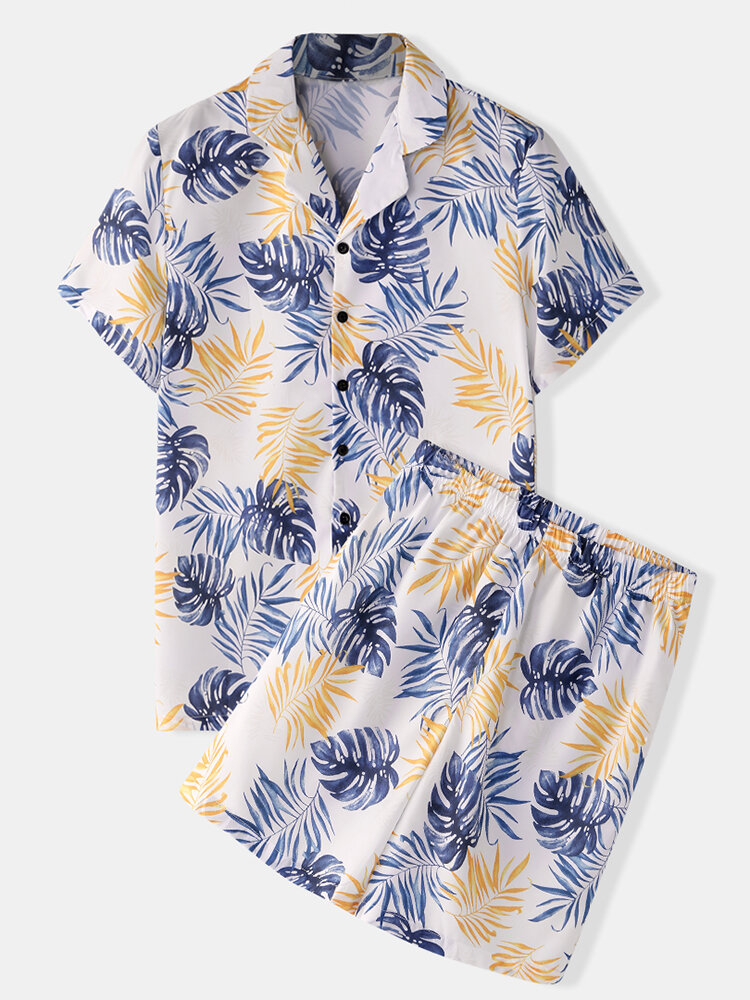 Men Floral Tropic Print Pajamas Soft Faux Silk Sleepwear with Short Sleeve Tops