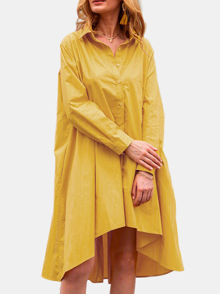 Casual Solid Color A-Line Pockets Loose Pleated Dress