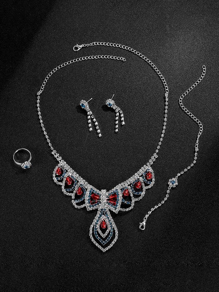 Trendy Jewelry Set Elegant Bowknot Zirconia Bracelet Earrings Set