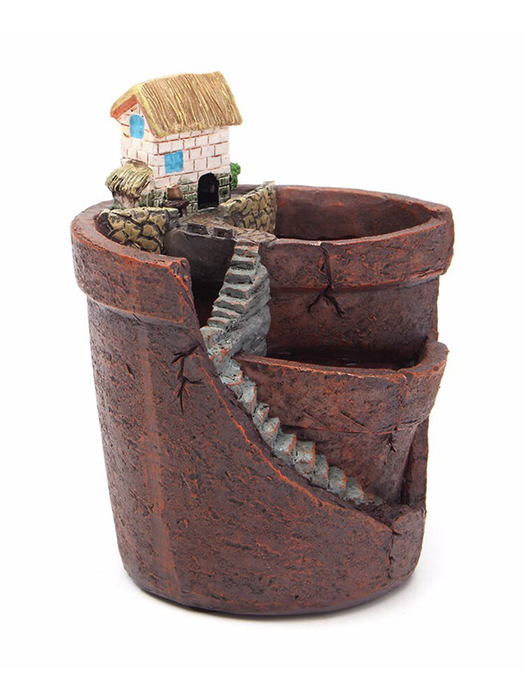 Hanging Garden Potted Micro Landscape Succulent Plant Pots Small House Resin Decoration