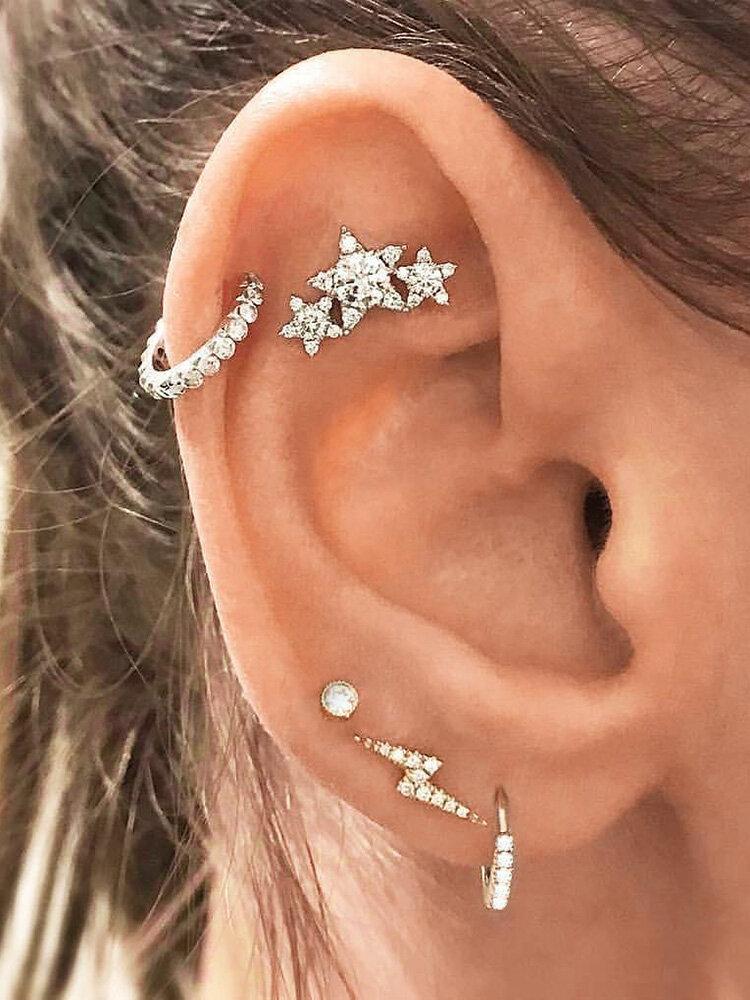 5 Pcs Fashion Crystal Stars Stud Earrings Bohemian Geometric Rhinestones Silver Earrings for Women