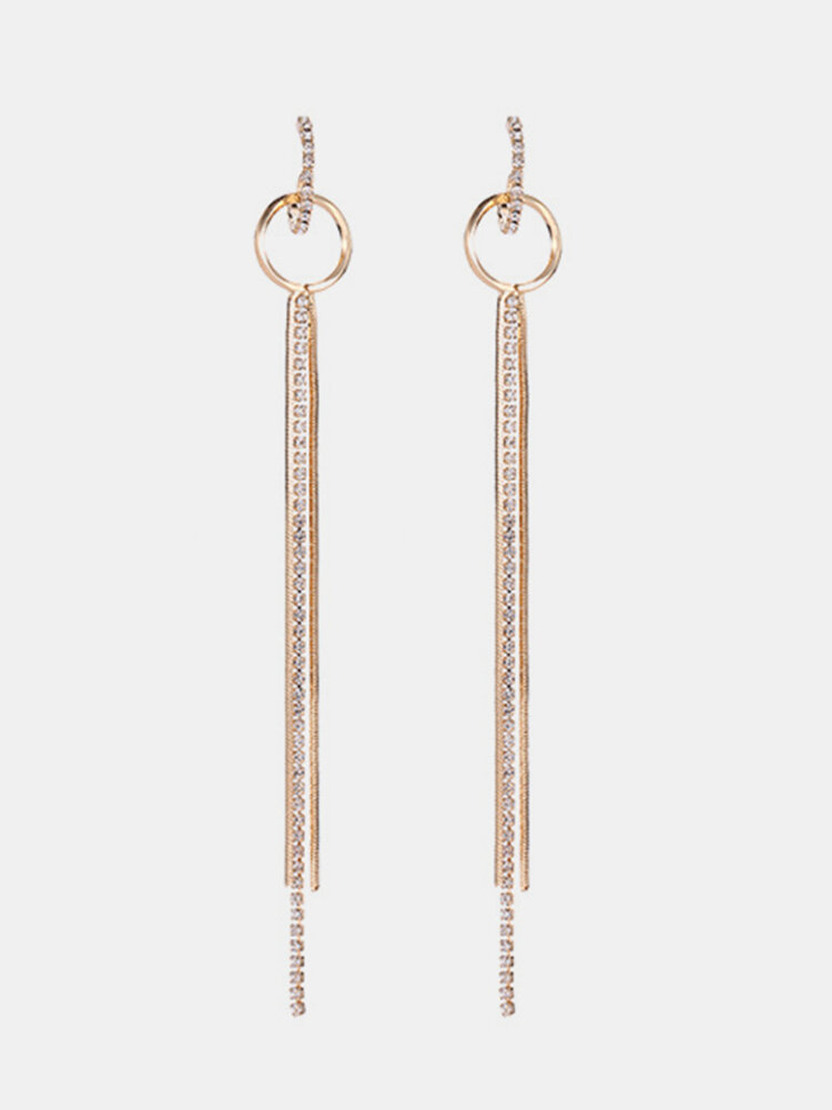 Fashion Ear Drop Earring Hollow Round Piercing Silver Gold Crystal Chains Tessals Dangle for Women