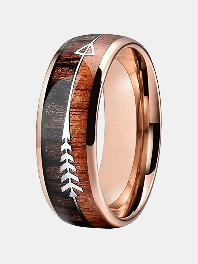 Vintage Wood Grain Men Ring Arrow Pattern Ring Jewelry Gift, newchic  - buy with discount