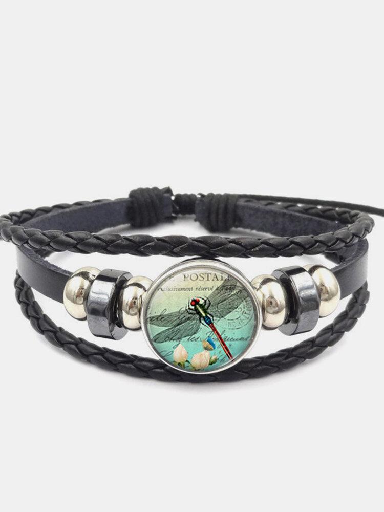 Vintage Dragonfly Calico Pattern Geometric-shape Hand-braided Beaded Glass PU Alloy Multi-layer Bracelet