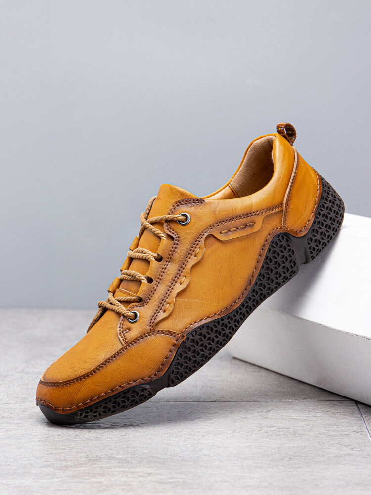 Menico Men Comfy Microfiber Leather Non Slip Soft Hand Stitching Casual Shoes