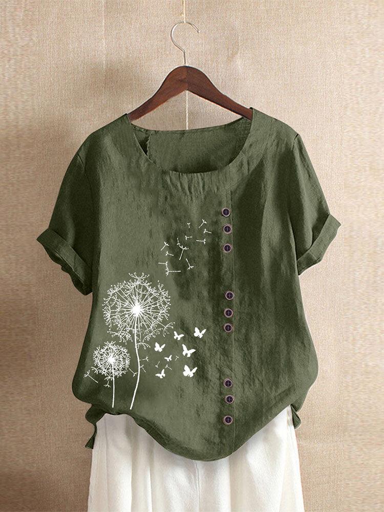 Camiseta casual con botones de manga corta y cuello en O con estampado de calicó Mujer