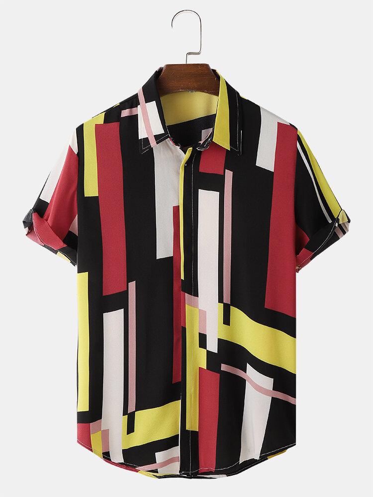 Mens Color Block Print Concealed Placket Street Short Sleeve Shirts