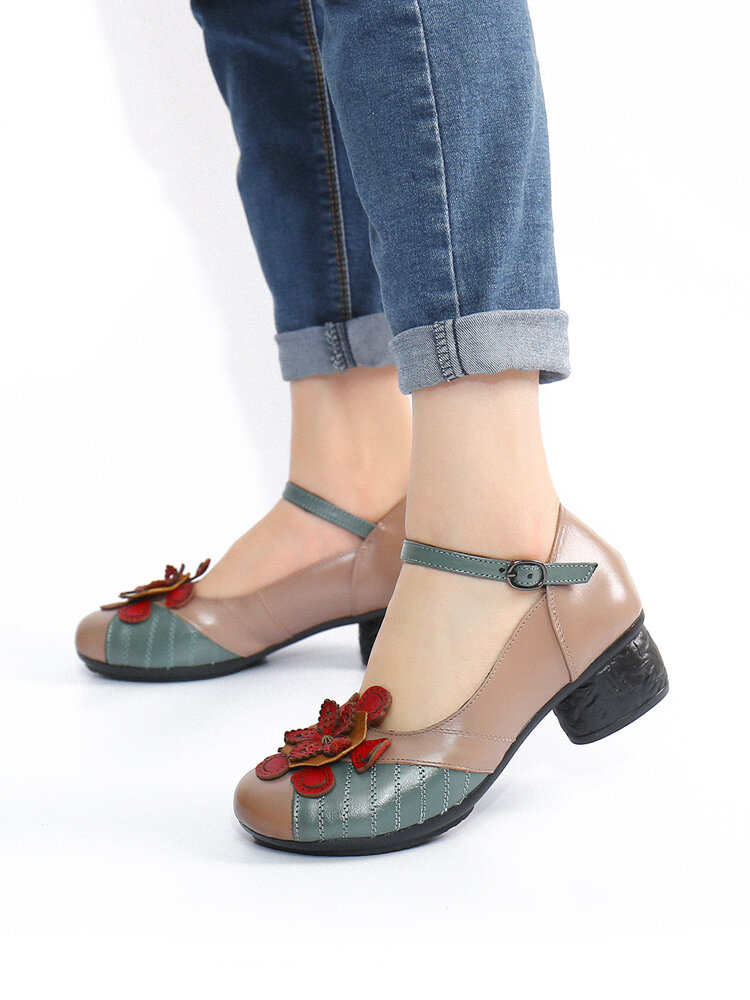 SOCOFY Ethnic Flowers Decor Genuine Leather Non Slip Buckle Strap Chunky Heel Comfy Pumps