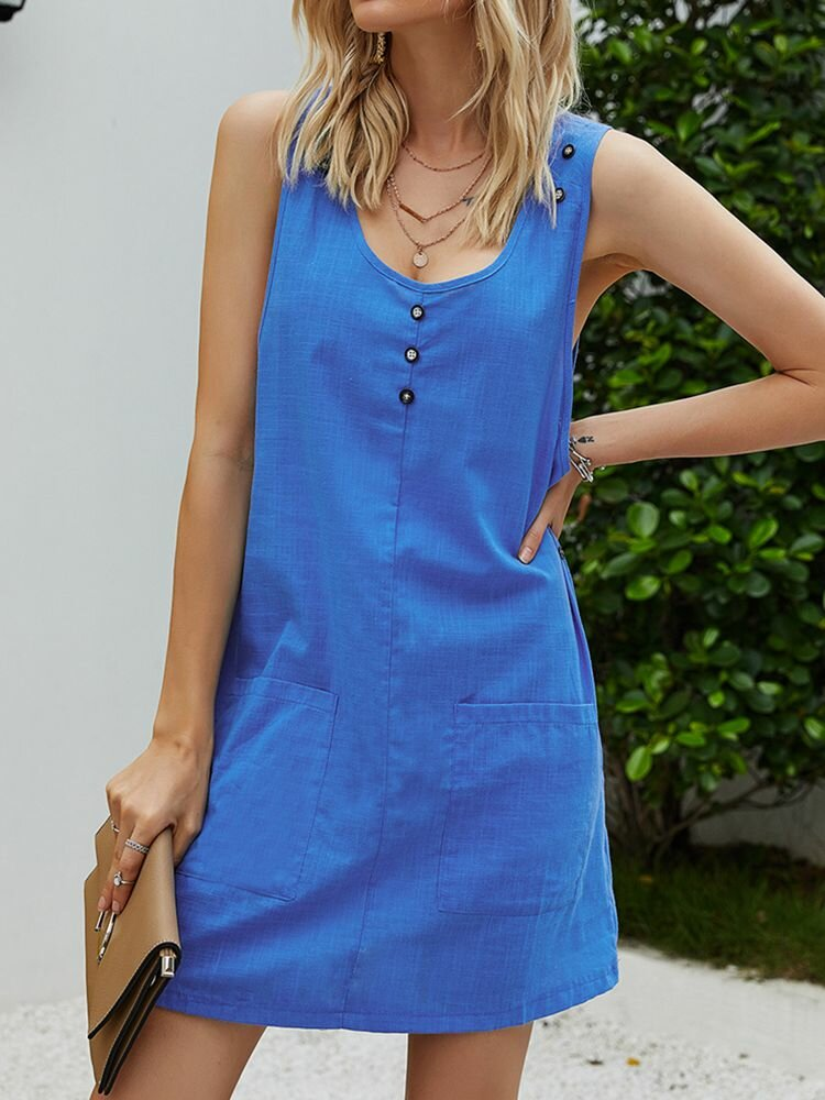 Solid Color Sleeveless Button Women Casual Dress With Pockets
