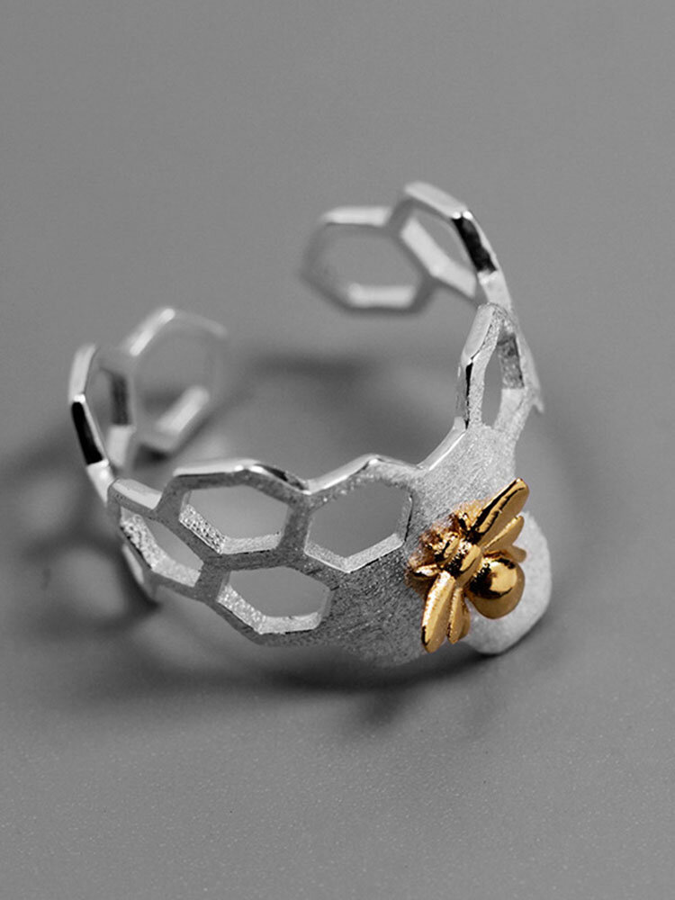 Vintage Literary Hollow Bee Honeycomb Insect Opening Ring