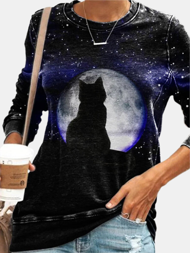 Cat Print O-neck Long Sleeve Plus Size Casual T-shirt for Women