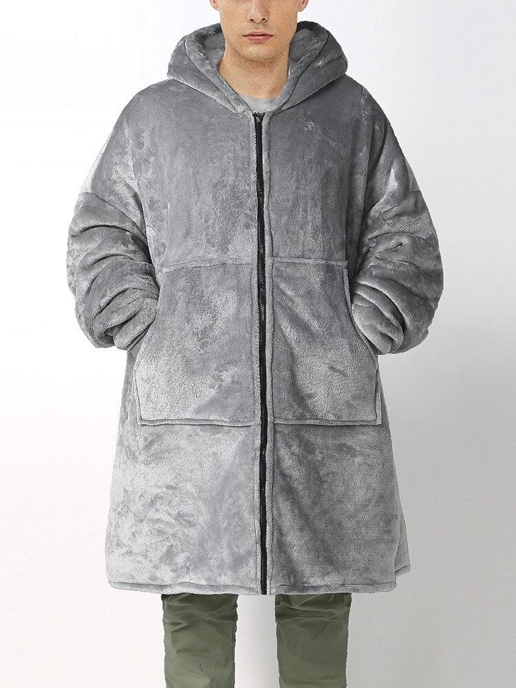Thicken Warm Flannel Zipper Up Oversized Home Blanket Hoodies With Kangaroo Pockets