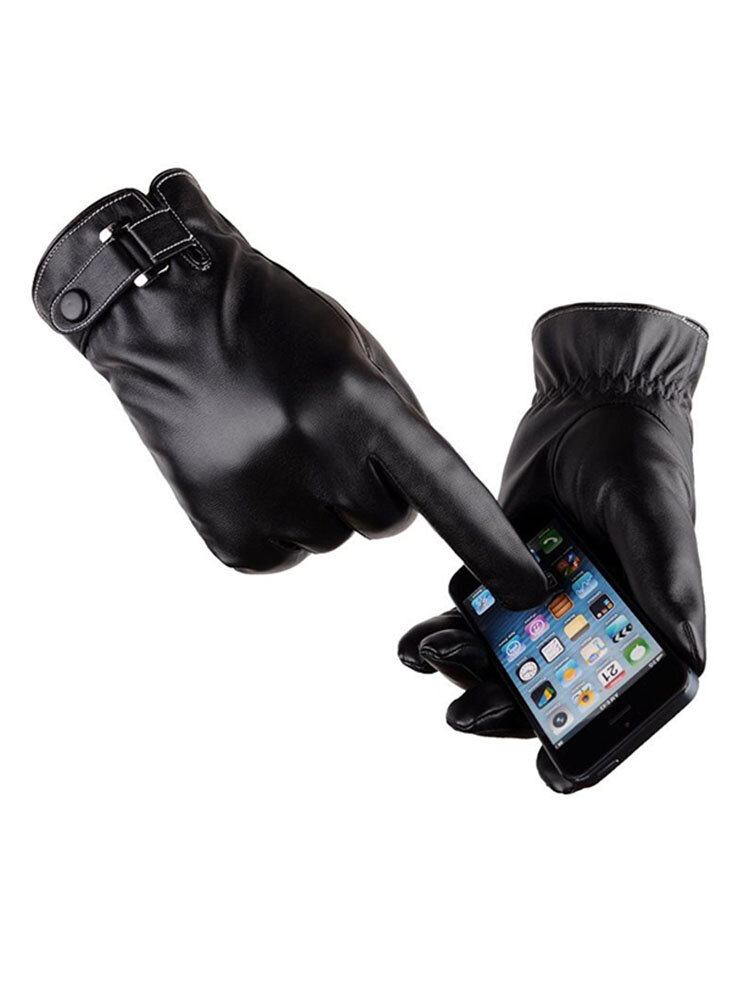 Mens Womens Warm Thick Windproof Texting Screen Pu Leather Cycling Ski Gloves Full Finger Glove