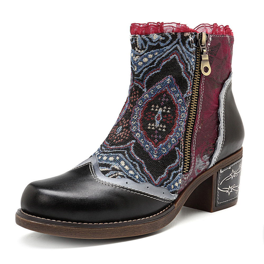 SOCOFY Splicing Lace Retro Pattern Genuine Leather Zipper Comfortable Ankle Boots