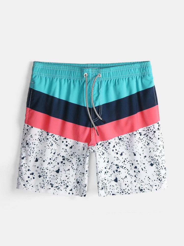 Slip de bain à cordon de serrage de plage de couleur abstraite décontractée pour hommes de vacances avec poche