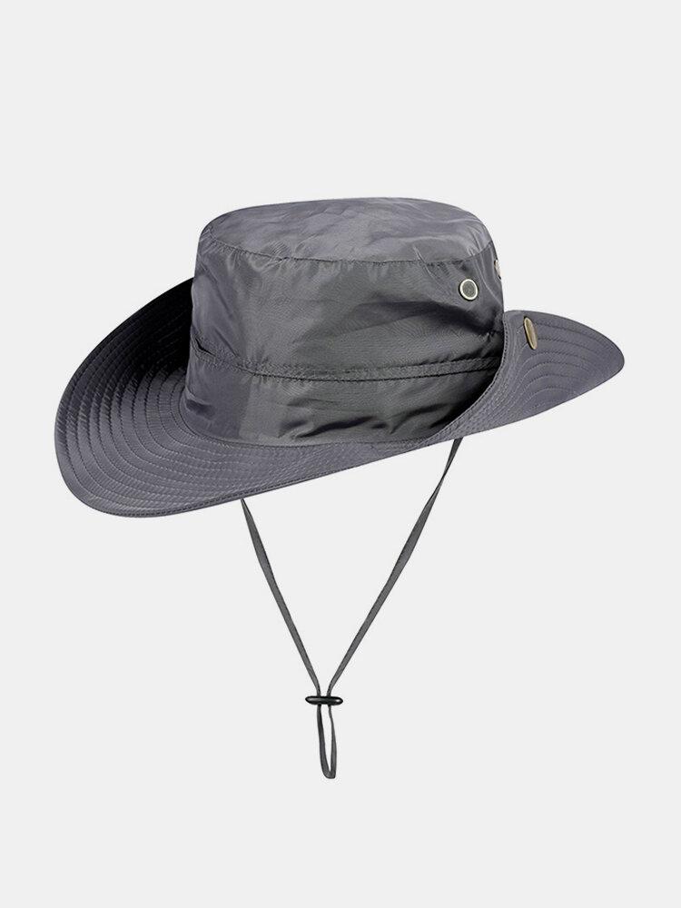 Mens Summer Cotton Visor Bucket Hats Fisherman Hat Outdoor Climbing Sunshade Cap