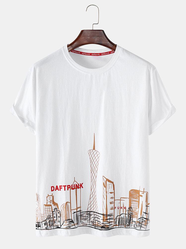 Mens City Building Print 100% Cotton Short Sleeve T-Shirts