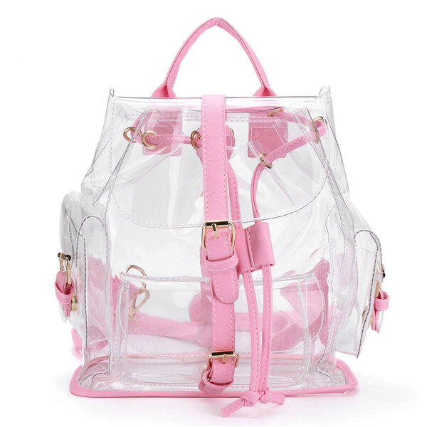 Women Girl Clear Backpack Cute Plastic Transparent School Bag