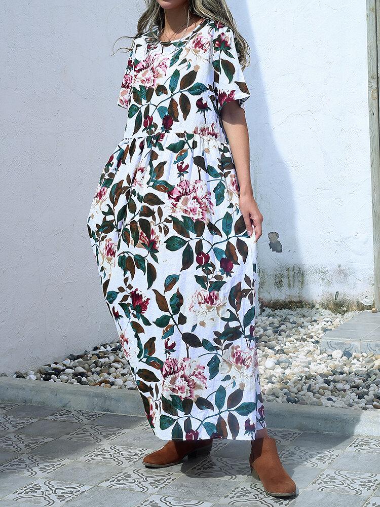 Leaves Flower Print O-neck Short Sleeve Loose Vintage Maxi Dress