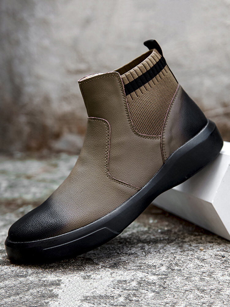 Men Vintage Outdoor Work Style Leather Sock Boots
