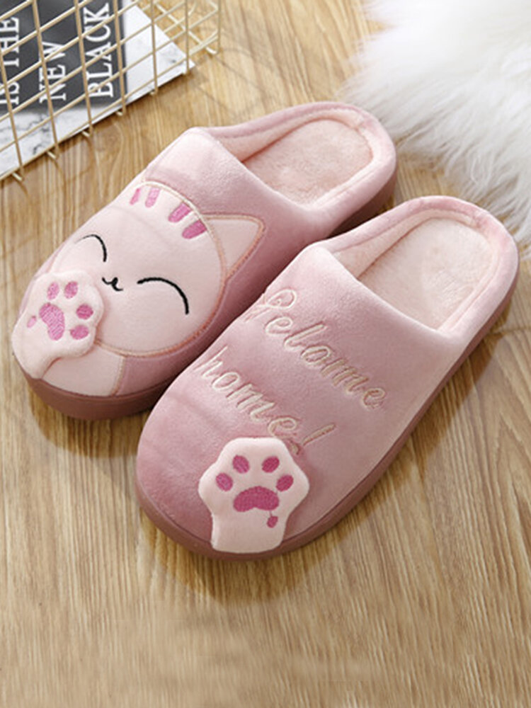 Large Sizes Women Cute Cat Decor House Slippers