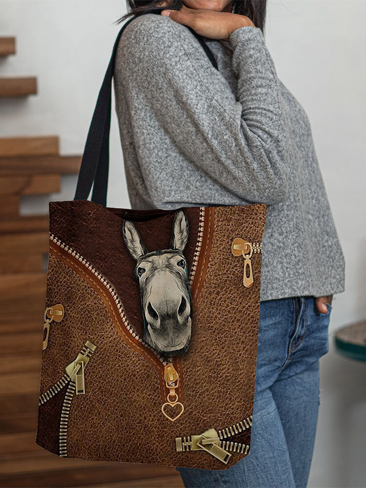 Women Felt Donkey Print Handbag Shoulder Bag Tote