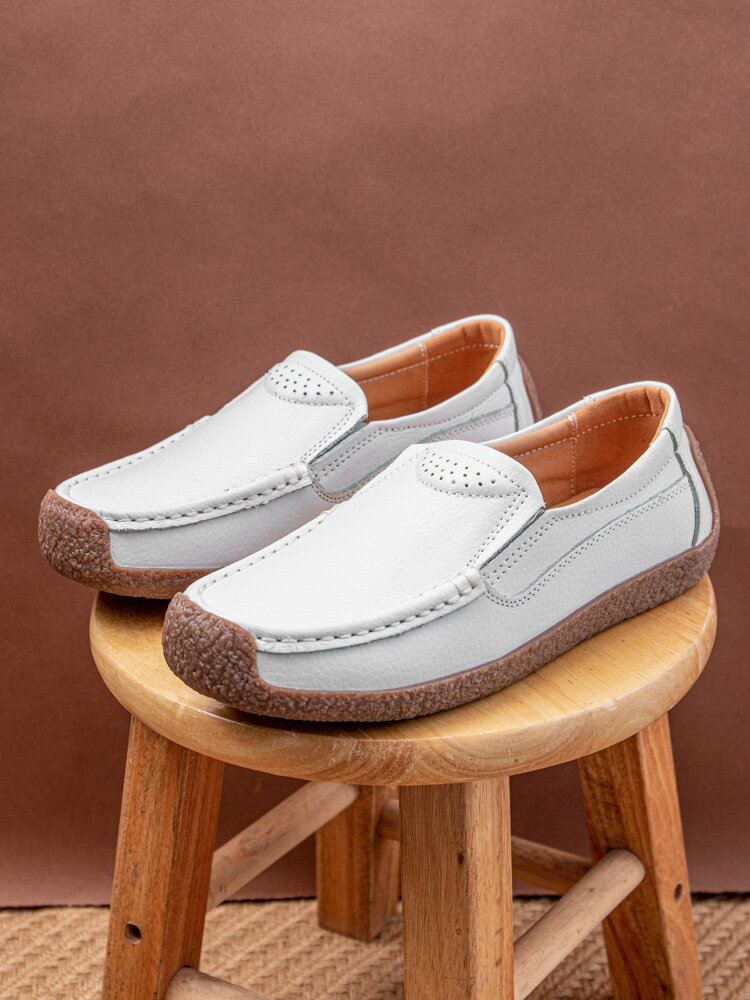 Women Brief Classic Solid Color Stitching Round Toe Flat Loafers Shoes