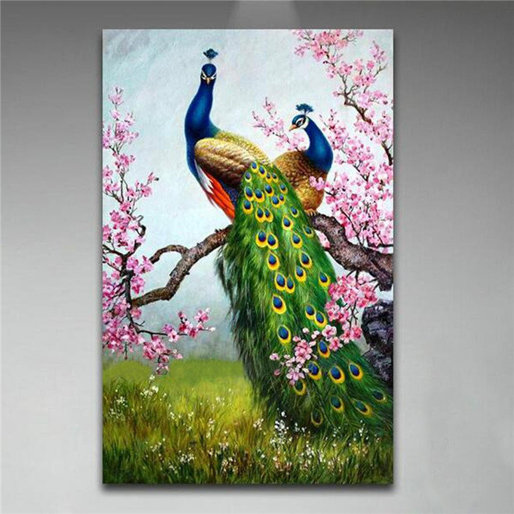 Art Print Peacock Canvas Painting Frameless Picture Wall Art Office Bedroom Living Room Home Decor