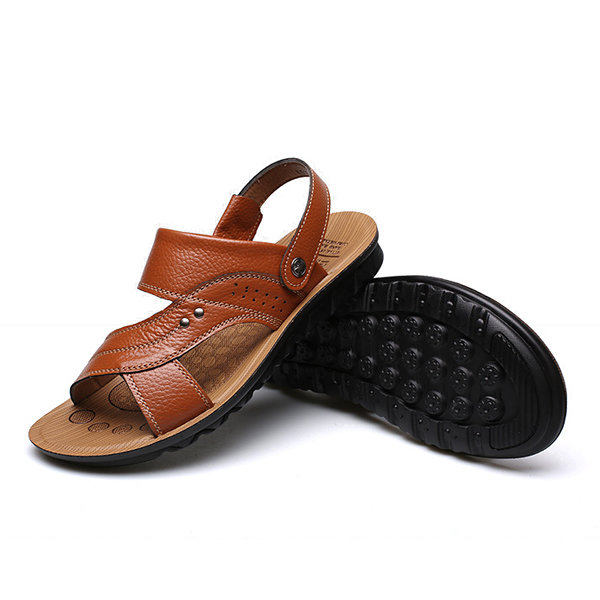 High-quality Men Leather Soft Pure Color Open Toe Slip On Flat Beach Sandals