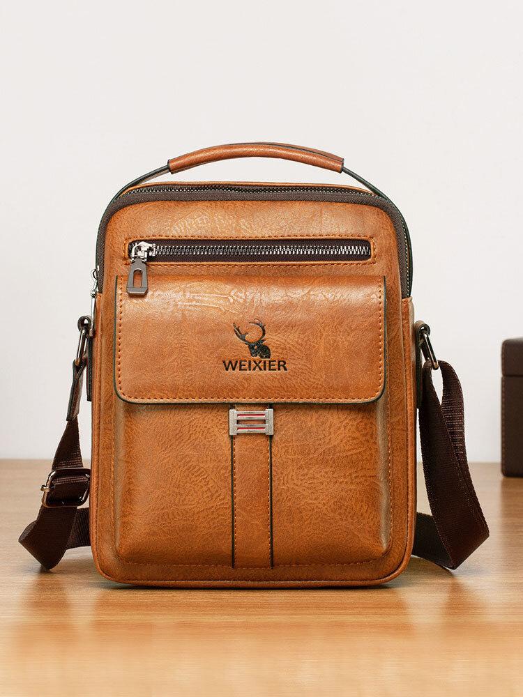Men PU Leather Vintage Waterproof Wear-resistant Crossbody Bag Shoulder Bag