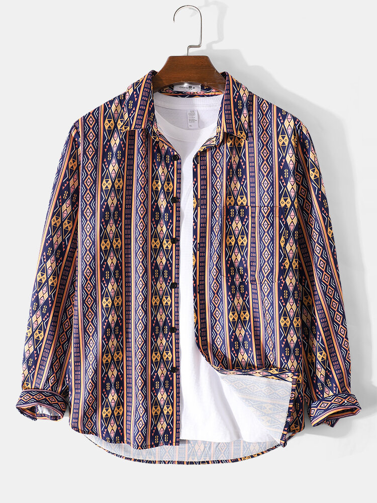 Mens Tribal Pattern Mixed Striped Vintage Casual Lapel Long Sleeve Shirt