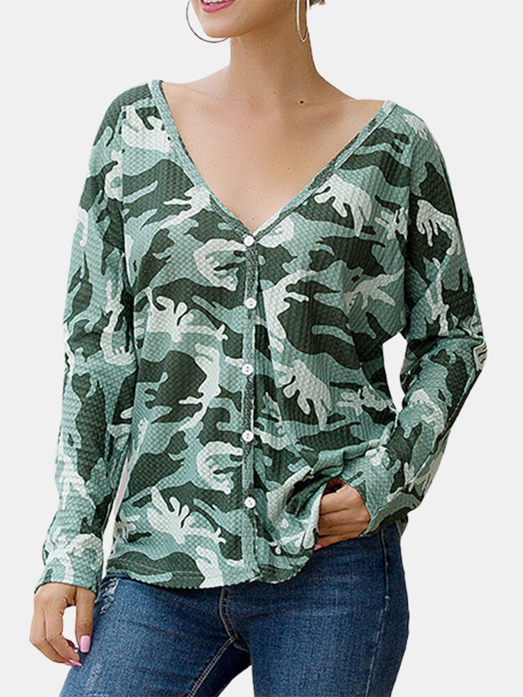 Camouflage Print V-neck Long Sleeve Blouse Button Cardigan