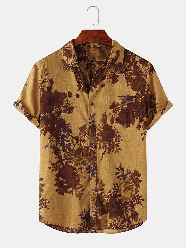 Mens Thin & Breathable Cotton Floral Print Vintage Holiday Casual Shirt
