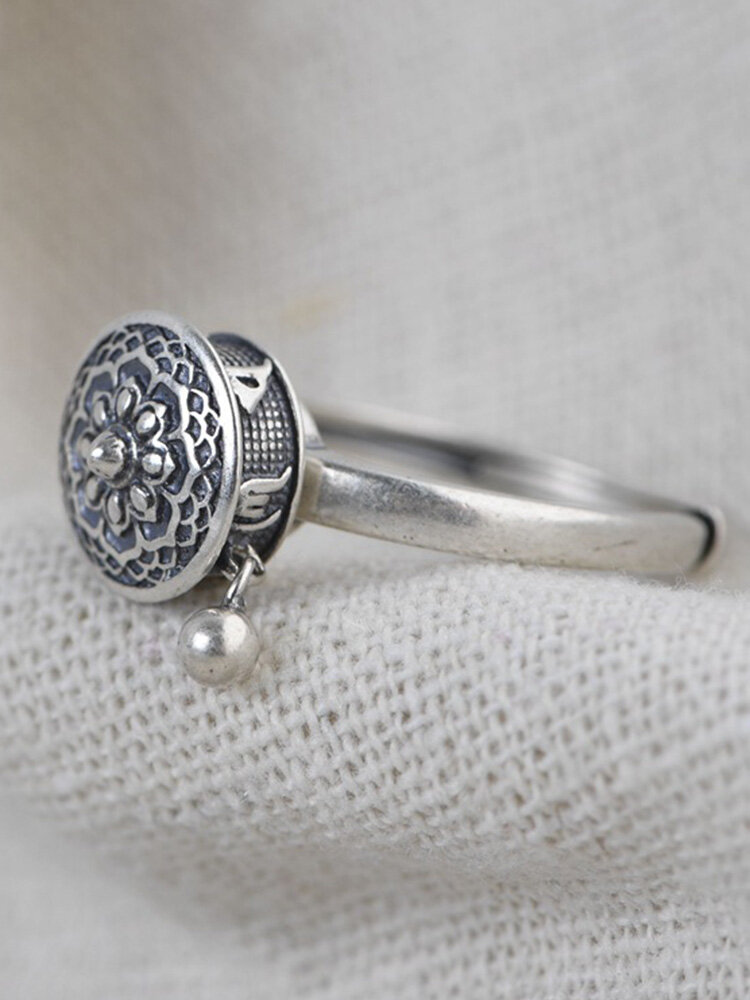 Vintage 925 Silver Open Ring Metal Ball Pendant Six-Character Mantra Rotatable Women Ring