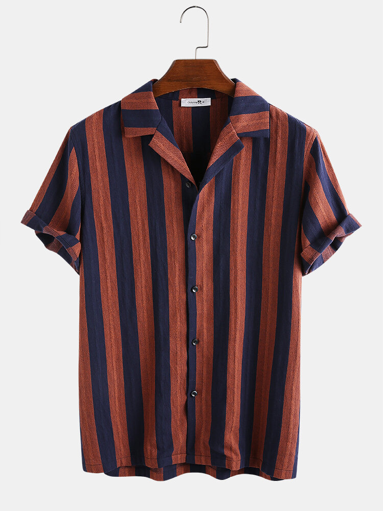 Mens 100% Cotton Vertical Striped Casual Short Sleeve Shirt