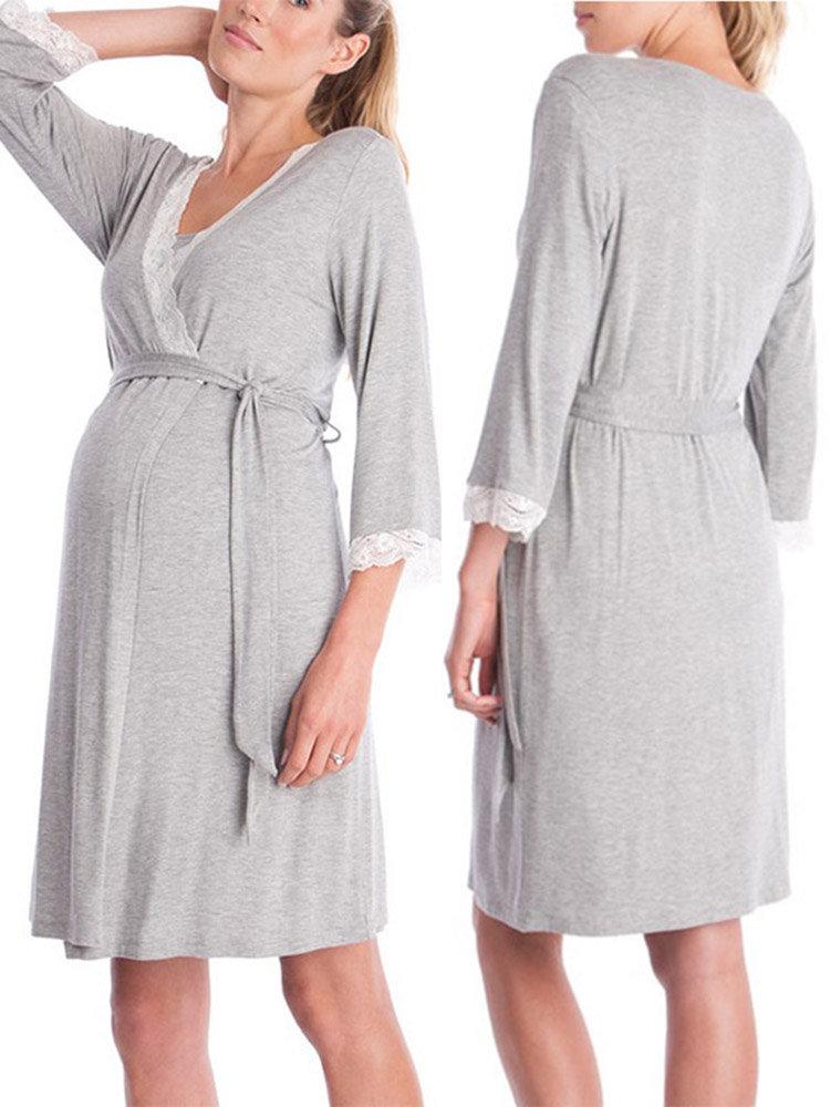 Lace Maternity Pajamas For Pregnant Women Long Sleeves Coat Nursing Sleepwear Maternity Clothes