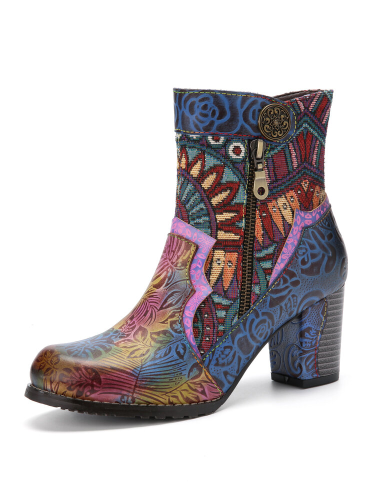 Socofy Bohemian Printed Colorful Leather Patchwork Side Zipper Soft Comfy Chunky Heel Short-Calf Ankle Boots