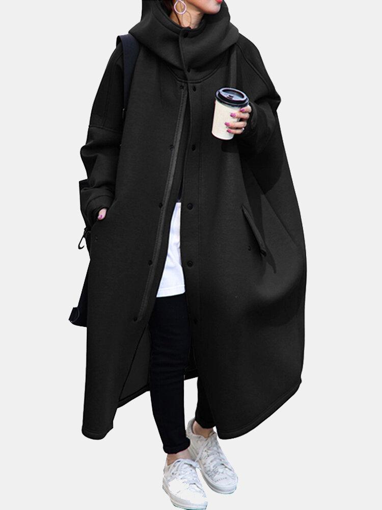 女性のための無地の長袖ハイネックジップフロントコート